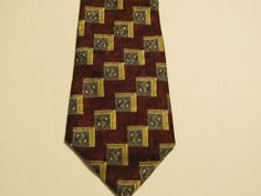 Perry Ellis Portfolio Men's Tie 100% Silk Burgundy, Gold, Blue squares/paisley