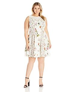 adrianna papell women's plus-size v-neck sleeveless fit-and-flare