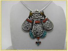 -  Collar Étnico Tibetano, Plata, Coral, Ambar y Turquesas