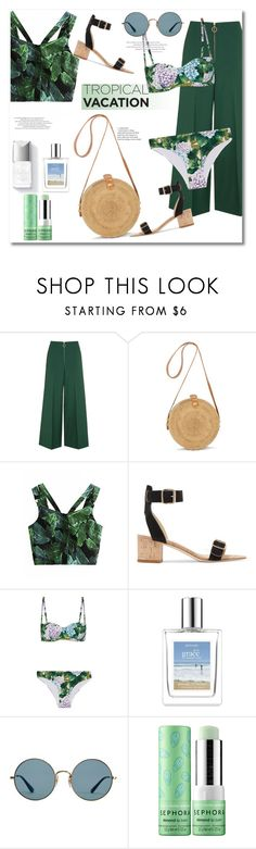 """""""Get the look tropical"""" by vkmd ❤ liked on Polyvore featuring Topshop, All Tomorrow's Parties, Dolce&Gabbana, Couture Colour, philosophy, Ray-Ban, Sephora Collection and TropicalVacation"""
