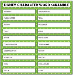 Disney Character Word Scramble party game
