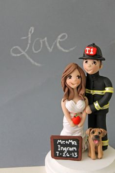 Firefighter Wedding Cake Toppers  - Fully Customized Cake People via Etsy