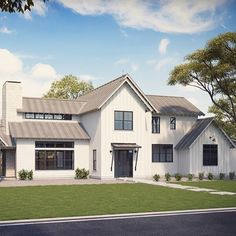 Big family and loads of friends - the Senepol will accommodate both. Four bedrooms, three and one half baths, study, play landing, three car garage/carport and Modern Farmhouse Exterior, Farmhouse Plans, Farmhouse Design, Farmhouse Style, Build Your House, Building A House, Future House, My House, Farm House