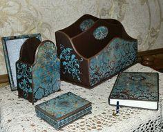 """Купить Комплект на стол руководителю """"Барокко"""" - бирюзовый, подарок руководителю, канцелярский набор, Бюро для бумаг"""