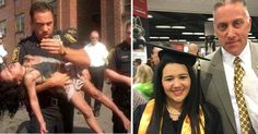 HARTFORD, Conn. – A retired Hartford, Conn., police officer who carried a young girl to safety nearly 20 years ago saw her again this week for a milestone: Her college graduation. In a powerf…