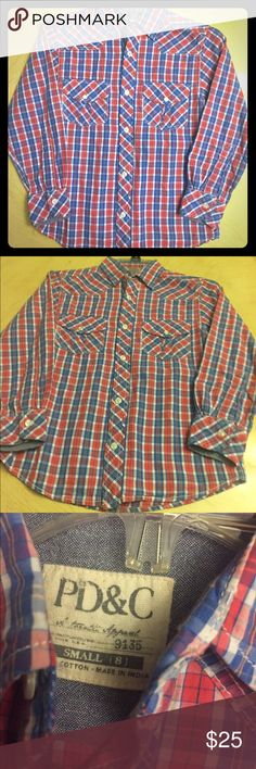 Boy's Paper, Denim, & Cloth Plaid Button Up Boy's Plaid P,D,&C Long Sleeve Button Up. Size Big Boy's Small-8. In Very Good Condition Shirts & Tops Button Down Shirts
