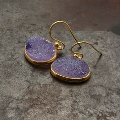 Amethyst Druzy Gold Earrings Sparkly Druzy by PiscesAndFishes Gold Drop Earrings, Gemstone Earrings, Greek Jewelry, Amethyst Jewelry, Personalized Jewelry, Druzy Ring, Bridesmaid Gifts, Natural Gemstones, February