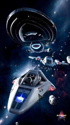 The aeroshuttle would've been so darn cool. A terribly missed opportunity there. Star Trek Borg, Star Trek Cast, Star Trek Voyager, Arte Sci Fi, Sci Fi Art, Star Trek Wallpaper, Star Trek Posters, Starwars, Aliens