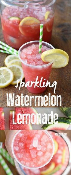 it's watermelon season! Make this ultimate summer drink: Sparkling Watermelon Lemonade and don't forget the pebble ice. Refreshing Drinks, Fun Drinks, Yummy Drinks, Healthy Drinks, Healthy Recipes, Party Drinks Alcohol, Bariatric Recipes, Healthy Snacks, Healthy Breakfasts