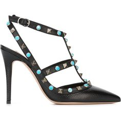 Valentino 'Rockstud Rolling' pumps (26 480 UAH) ❤ liked on Polyvore featuring shoes, pumps, black, black shoes, pointy toe pumps, black ankle strap shoes, valentino shoes and stiletto pumps