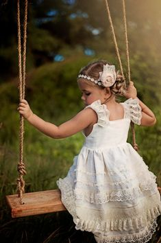 Ivory Linen And Lace Knot Flower girl dress
