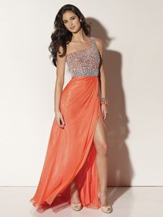 A-line One Shoulder Chiffon Orange Long Prom Dresses/Evening Dress With Beading #BUSA0242112