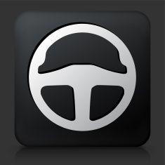 Black Square Button with Steering Wheel Icon vector art illustration