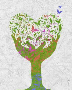 Summer Art Butterfly Love Tree Artist Signed Print by Inspireuart, $20.00