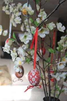 In Slovkia, the Easter eggs are hung on branches to display.