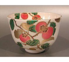 tea013 Japanese Tea Bowl Kyo Ware by Sagami Ryusen PERSIMMON