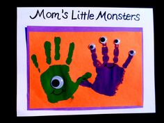 boys arts and crafts, halloween idea, googly eyes, barn parties, halloween crafts, handprint art, hand crafts, little monsters, kid