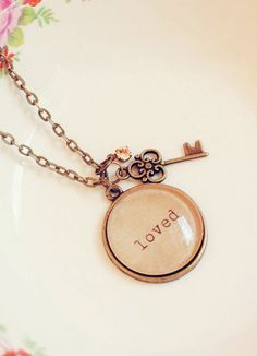 shabby chic.. Loved Necklace with Charm