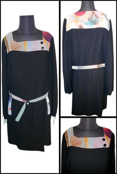 http://www.ebay.co.uk/itm/180964011657 Matthew Williamson  Black Dress, Fully Lined,    100% Polyester, Front neck band trim & pockets,     Size 14, Made in UK.