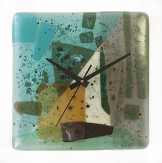 Rushing Water Clock by Nina Cambron. This fused glass clock delights the eye with a dynamic composition of bold shapes and coastal colors. Iridescent elements are placed throughout for subtle shimmer. Ready to hang. Uses one AA battery (included). Clock Painting, Clock Art, Unusual Clocks, Unique Wall Clocks, Fused Glass Art, Glass Wall Art, Stained Glass, Glass Artwork, Water Clock