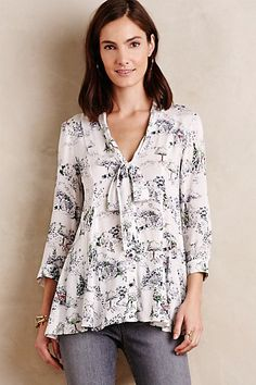 Tie-Neck Swing Blouse #anthropologie (also the blue, not white)