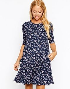 ASOS Maternity Swing Dress With Pockets In Floral Print With 3/4 Sleeves