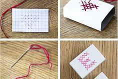 Korsstygn på tändsticksaskar – Cross-stitched matchboxes