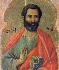 """""""Apostle Simon""""  --  1308-11  --  Duccio di Buoninsegna  (circa 1255/60-1318/19, Italian)   --  Tempera on wood panel  --  Museo dell Opera del Duomo  --  Florence, Italy"""