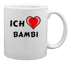 Keramische Tasse mit Aufschrift Ich liebe Bambi (Vorname/Zuname/Spitzname) - http://geschirrkaufen.online/shopzeus/keramische-tasse-mit-aufschrift-ich-liebe-bambi