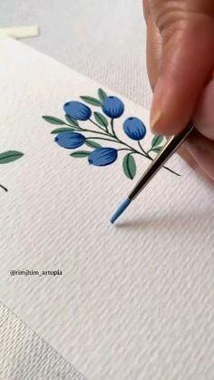 Art Drawings Sketches Simple, Diy Canvas Art, Watercolor Art, Watercolor Video, Watercolour Flowers, Fabric Painting, Art Tutorials, Diy Art, Art Lessons