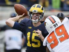 Michigan quarterback Jake Rudock QB completes pass