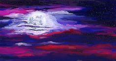 Great painting by Jeanne Fischer #paintings #nightscapes #moon