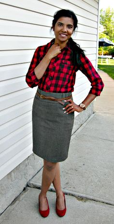 casual gingham for office look
