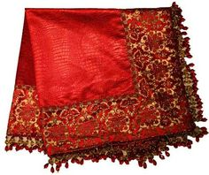 Reilly-Chance Collection Luxury Tabletop Square - Red and gold damask, deep red croc. chenille edged with beading to complete your Home Decor! Christmas Table Mats, Luxury Throws, Tuscan House, Old World Style, Luxury Home Decor, Elegant Homes, Luxury Bedding, Damask, Red
