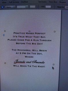Cute wording for rehearsal dinner invites . @Antoinette Carmela @Victoria Paciello