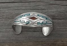 Navajo Turquoise Coral Chip Inlay Cuff Bracelet, Navajo Coral Cuff Bracelet,Turquoise Inlay Cuff Bracelet, Vintage Gift Jewelry, Made In USA
