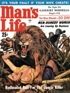 "MAN'S LIFE, April 1959. Cover by Wilbur ""Wil"" Hulsey. More Hulsey MAN'S LIFE…"