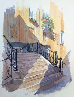 Venetian Steps/Bridge Sketch ~ John Edwards