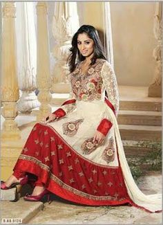 Red and Off-White Designer Georgette Anarkali with heavy work of Embroidery en-crafted on the top and the Bottom. Along with Matching Shantoon Bottom and Chiffon Duppatta.