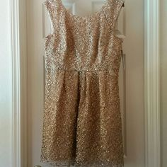 Decode 1.8 Gold Dress Size 16 Modcloth/Dillard's Brand new beautiful lace/sequin dress in gold! Wear this to prom, a wedding or a special birthday!  Provides no stretch, Decode 1.8 Dresses Prom