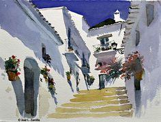 Artista: José L. Zorrilla MIJAS / Pueblo en Andalucía - 23x31 cm