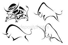 Ox Tattoo, One Line Animals, Black And White Google, Chinese Calendar, Bull Logo, Black Image, Animal Sketches, Indigenous Art, Animal Logo