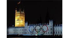 The Olympic rings are projected onto the House of Parliament during a light show to mark the start of the 2012 Olympic Games on 27 July.