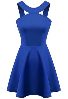 Blue Strap Backless Flouncing Flare Dress 19.17