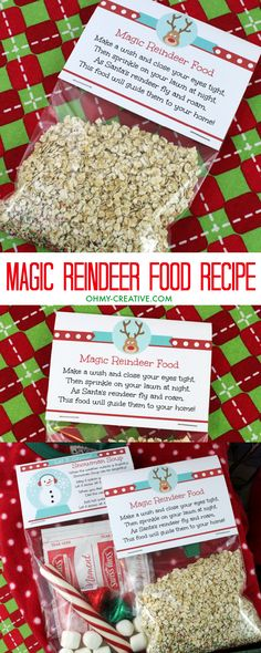Help guide Santa's sleigh on Christmas Eve with this fun Magic Reindeer Food Recipe! Adorable  printable bag topper too! | OHMY-CREATIVE.COM  #christmasprintables #reindeerfood #reindeers #christmascrafts #printables #christmaseve #rudolph