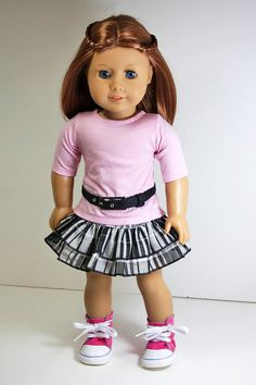 American Girl Doll Clothes-Ruffled Skirt Shirt by sewurbandesigns