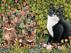Ivory Cats Christie, Zelly And Posky In The Vines Jigsaw Puzzle