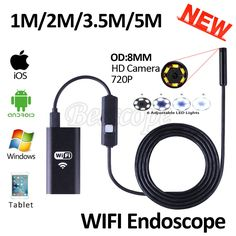 HD720P 8mm Objektiv WIFI Endoskop Kamera 5 Mt 3,5 Mt 2 Mt 1 Mt Schlange USB Iphone Android Endoskop IOS Tablet Drahtlose Endoskop-kamera