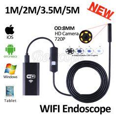 HD720P 8mm Objektiv WIFI Endoskop Kamera 5 Mt 3,5 Mt 2 Mt 1 Mt Schlange USB Iphone Android Endoskop IOS Tablet Drahtlose Endoskop-kamera