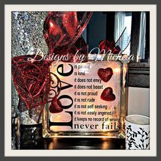 All New! Love is Patient Light up Glass Block, GF022